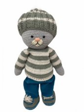"Crochet G.D Kledingset "" Winter Boy"" blue"